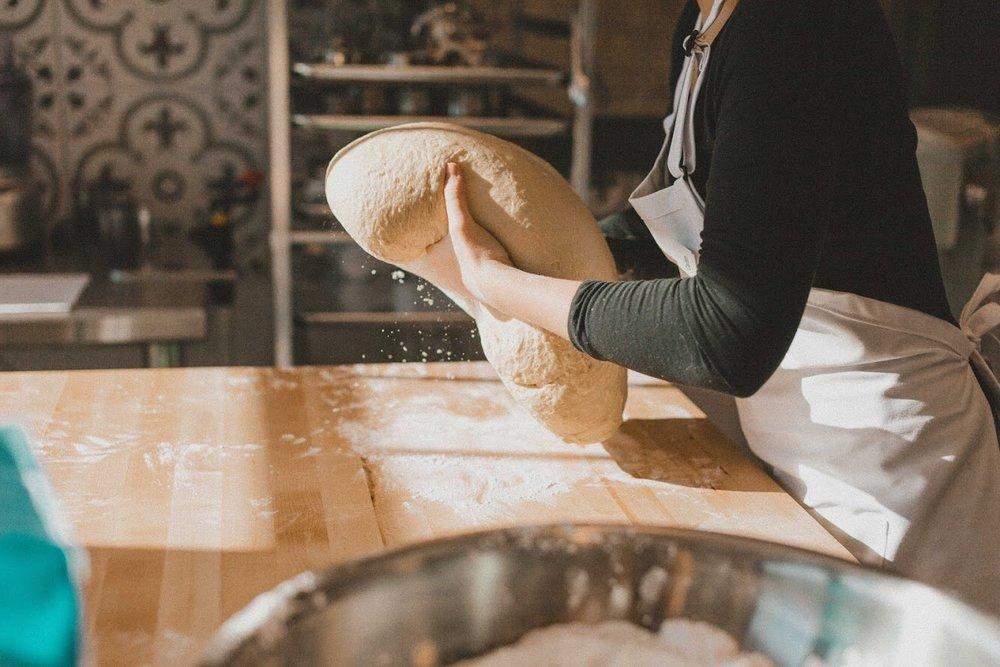 kneading donut dough.JPG
