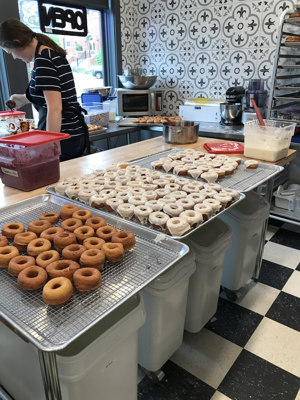 The final steps before our donuts are ready for you!