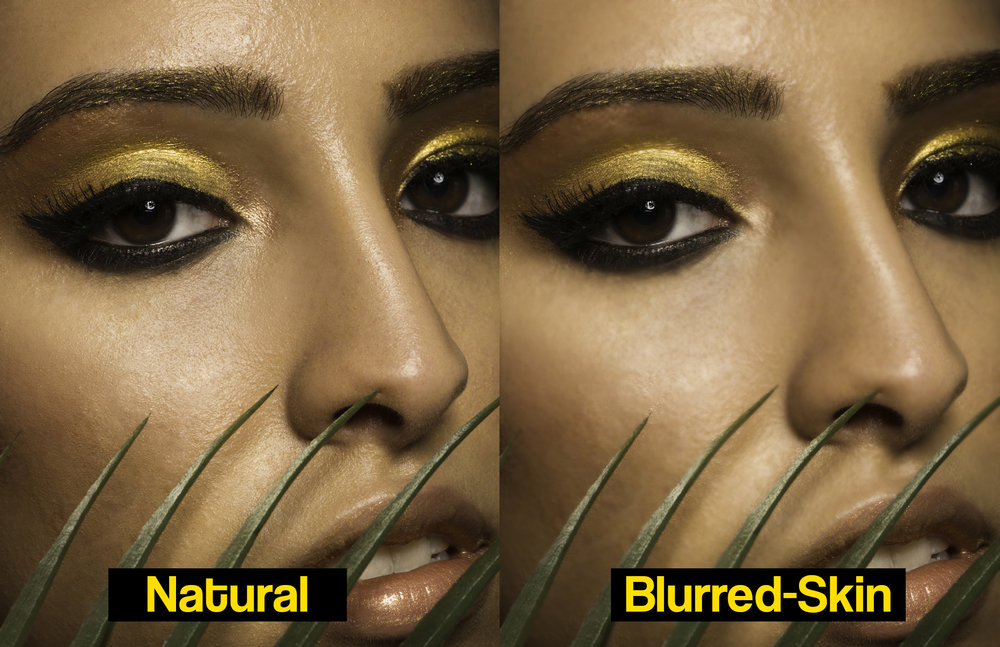 You lose a lot of detail when you blur skin. It may not be noticeable on a phone screen as much, but when these photos are printed or even viewed on a monitor, you can actually see the difference and the missing detail.