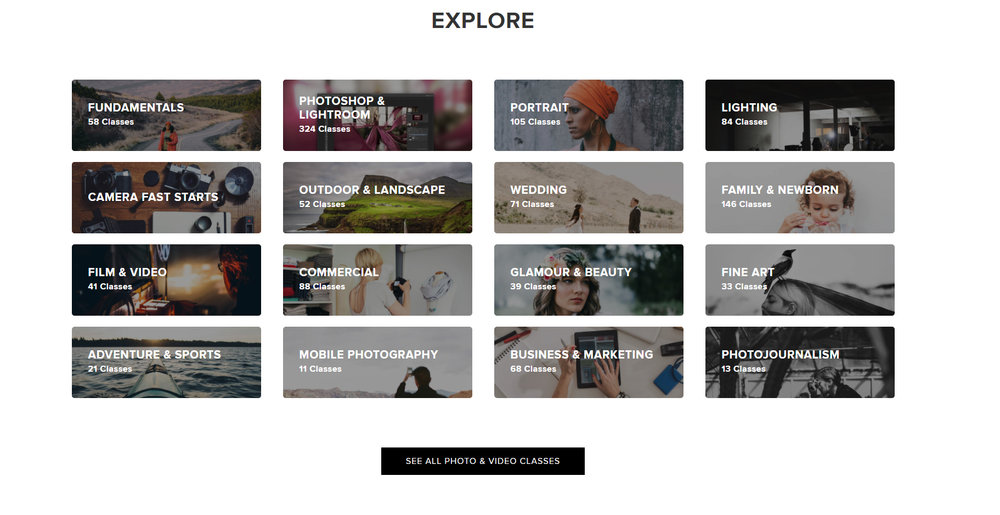 Just a look at some of the Photography classes CreativeLive offers. They have a lot available for purchase, but you can watch classes as they are recorded live for free!