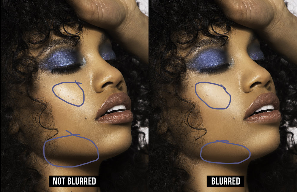 On the left, transitions from light to darker areas will usually be able to show more texture or it will be more apparent. On the right you can see it looks more flat where too much texture was lost.  (Click to see full-res)  Model:   Lucci   - MUA:   Ashley Victoria   - Hair Stylist:   Franklin Berry