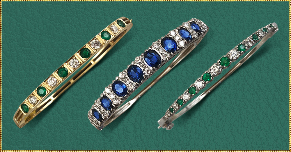 Love these bracelets! - If you have an anniversary or birthday coming up, set your sights on one of these spectacular diamond bracelets with emeralds or sapphires. And really, it's never too early to start your Wish List at Barker's to make sure you have your favorite jewelry picked out for Christmas.Left: Emeralds-1.38 total carat weight. Diamonds-total carat weight .95. Setting-14kt gold. $6,200Center: Sapphires-5.54 total carat weight. Diamonds-total carat weight 1.61. Setting-14kt gold. $8,950Right: Emeralds-.99 total carat weight. Diamonds-total carat weight .66. Setting-14kt gold. $4,290