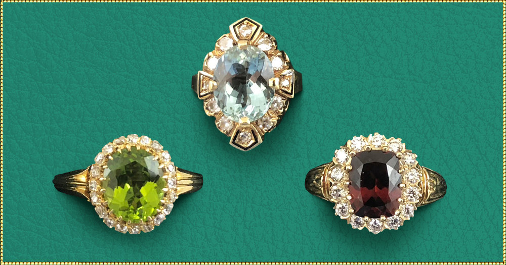 "There's a story behind every beautiful ring at Barker's. - Peridot: Birthstone of August. Symbolizes strength. Sometimes called ""The evening emerald"