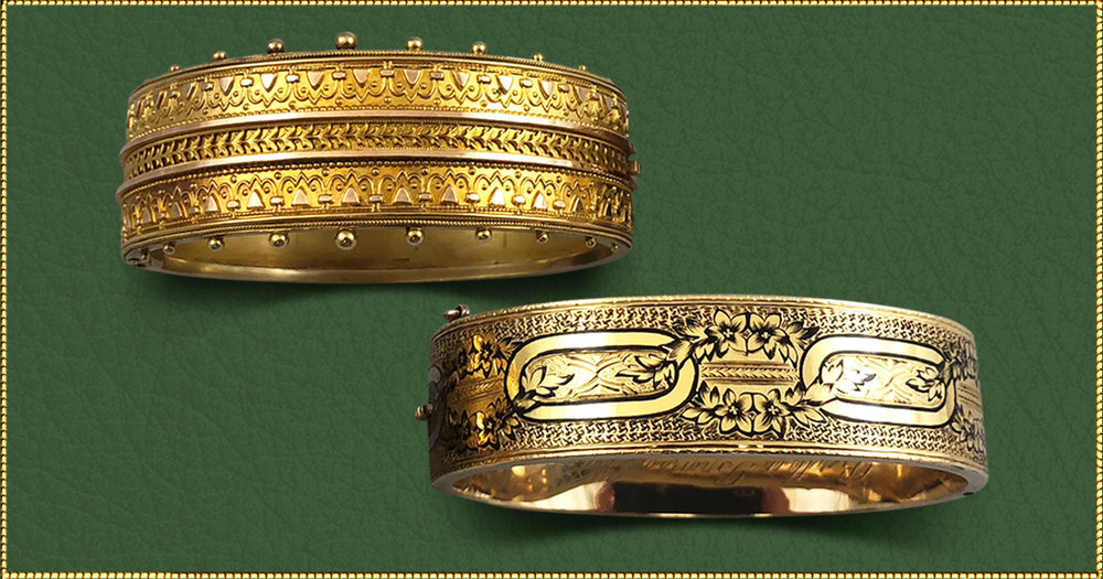 The handmade detail in these gold bangles is truly remarkable - Imagine the time spent by master craftsmen who created each of these bangles one at a time over 200 years ago. What a treasure to enjoy wearing and then pass on to the next generation in your family.Top: 15kt yellow gold bangle with exquisite Etruscan detailed design using embossing and filigree. Circa 1870's. $4,700Lower: 14kt yellow gold bangle featuring black Tracery enamel design. Circa 1870's. $2,850
