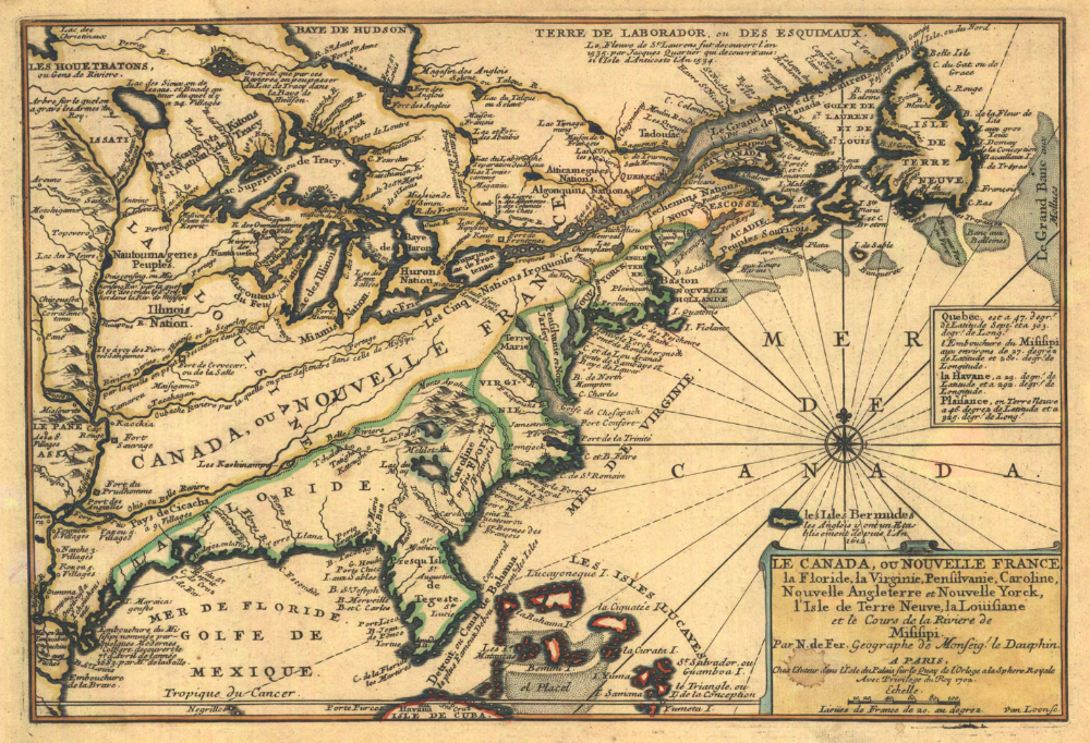 Nicolas de Fer:  Le Canada, ou Nouvelle France, la Floride, la Virginie, Pensilvanie, Caroline,  Paris 1702.