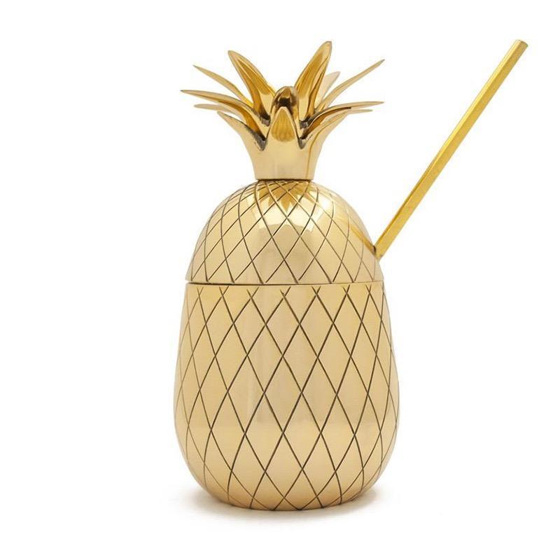 Gobelet à Cocktail Ananas Doré 16oz