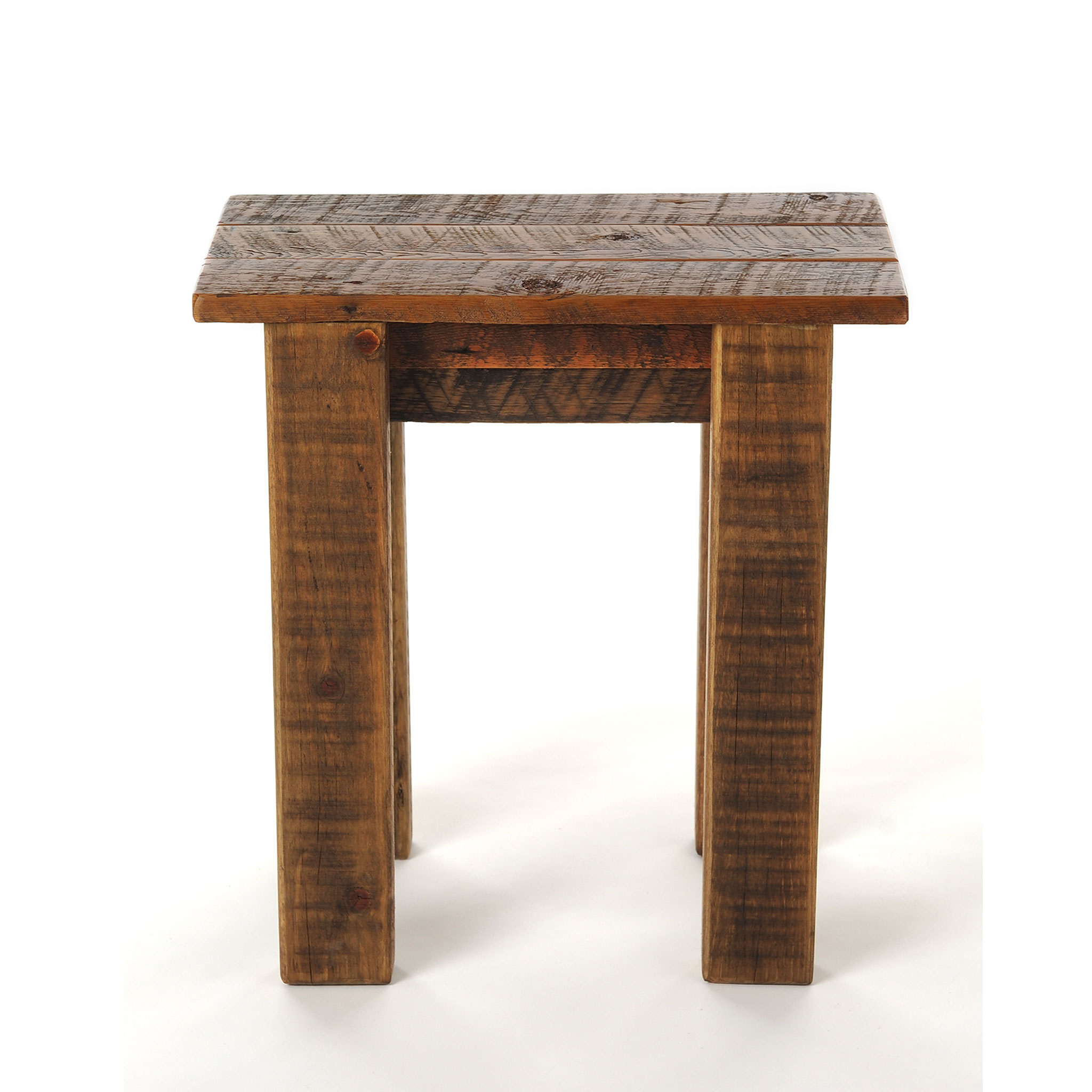 END TABLE TRADITIONAL SLATTED TOP IN BARNWOOD ...