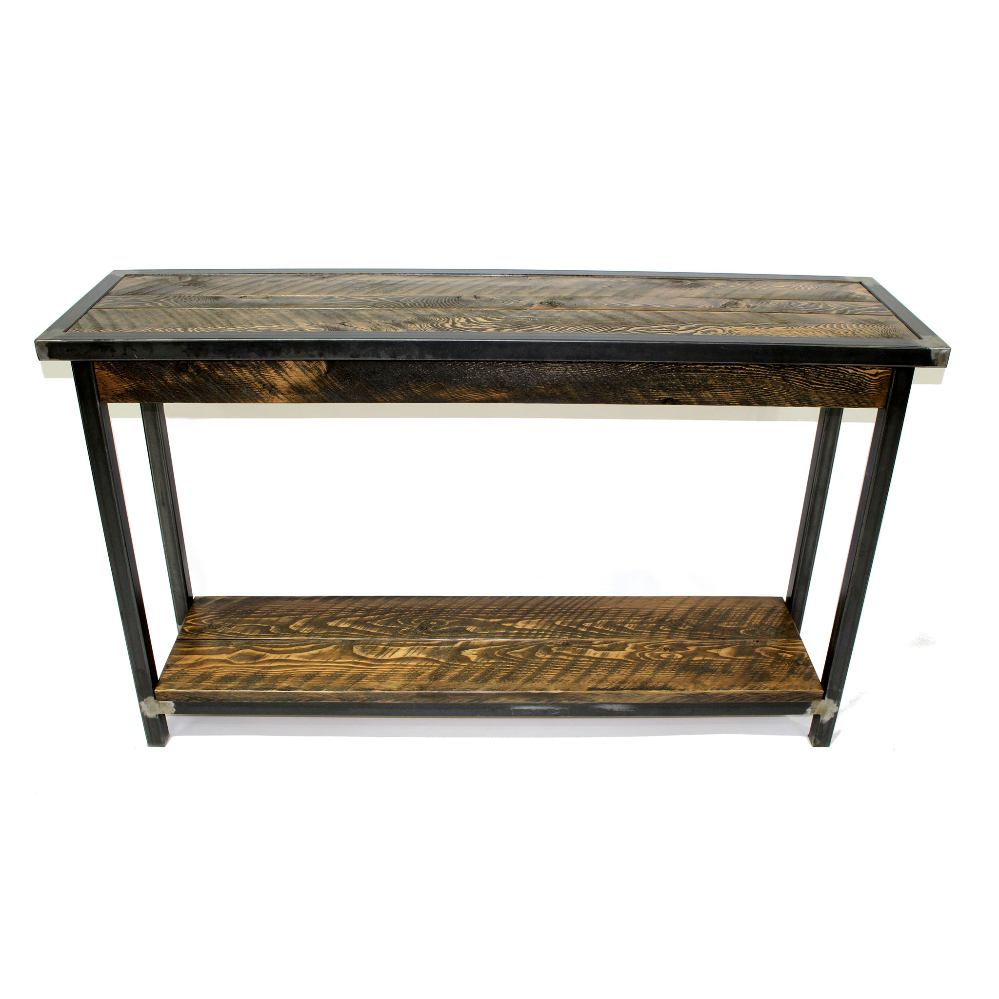 ENTRY/SOFA TABLE BOZEMAN MODERN METAL IN ROUGH SAWN
