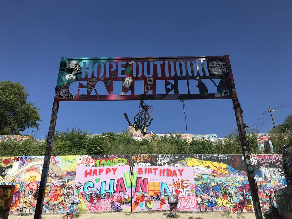 Entrance to Hope Outdoor Gallery - go early!