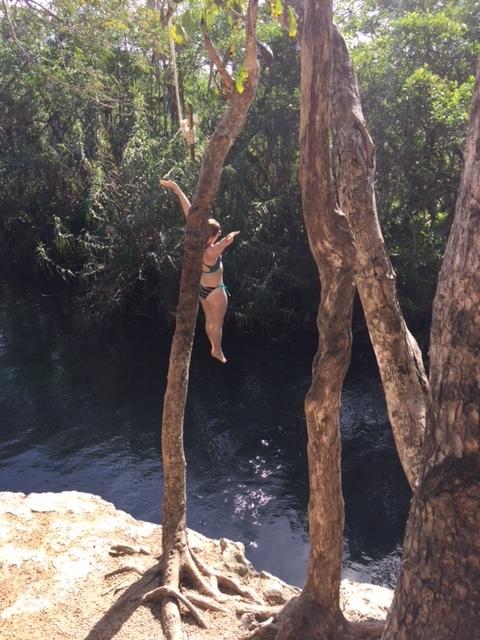 The swing at Cenote Escondido