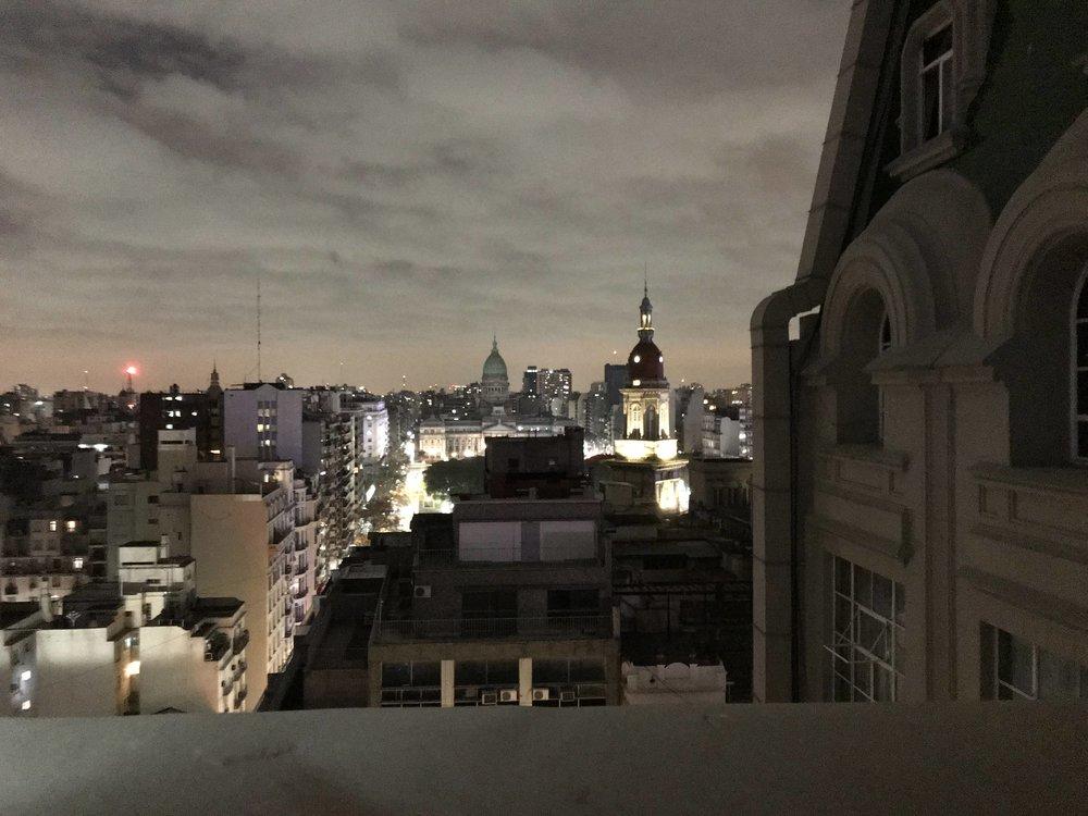 View of Buenos Aires at night atop the Palacio Barolo.
