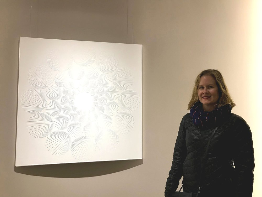 The Park Hyatt had an art gallery between the two towers that was for purchase. I posed with my favorite pieces, this was one of them.