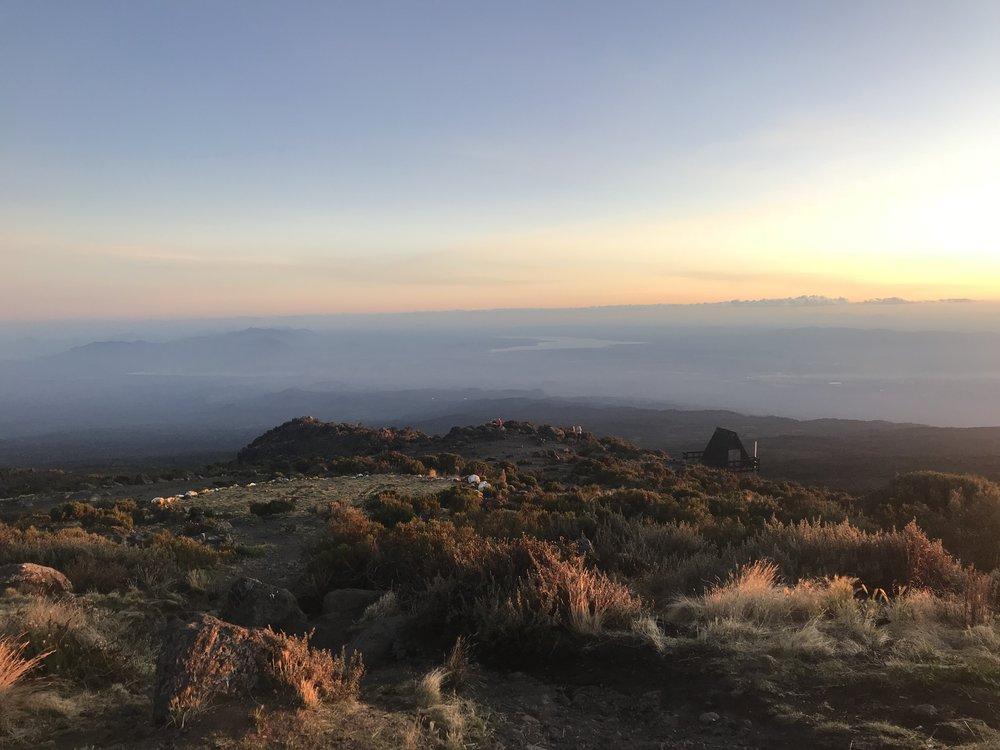 Sunset and the helipad at Horombo
