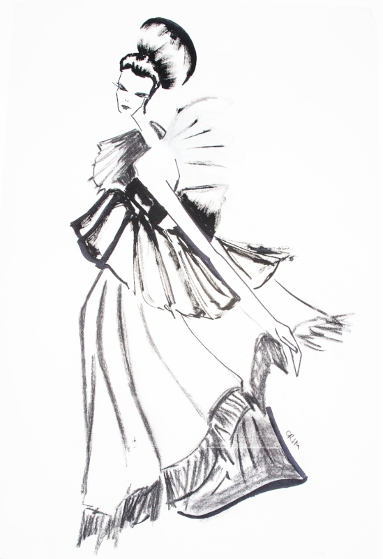 one of many of her elegant fashion drawings