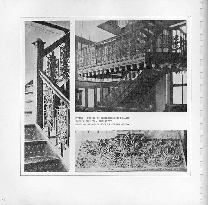Old photo of terra cotta exterior and stairwell in The Sullivan Center, formerly known as the Carson, Pirie, Scott and Company building.