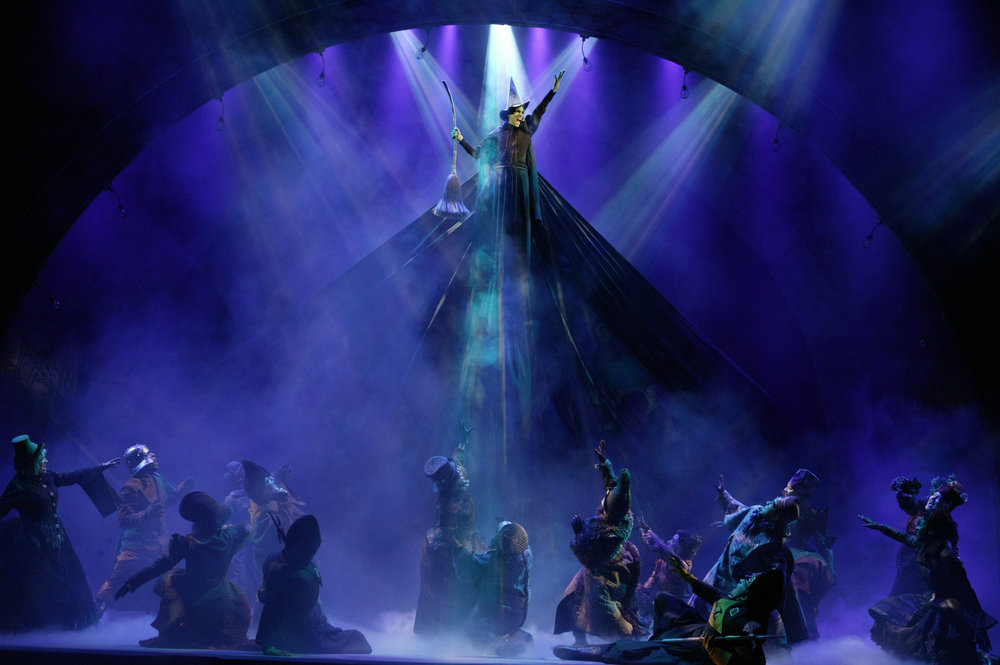 Photo by Joan Marcus |Christine Dwyer defies gravity as the newfound Wicked Witch of the West.