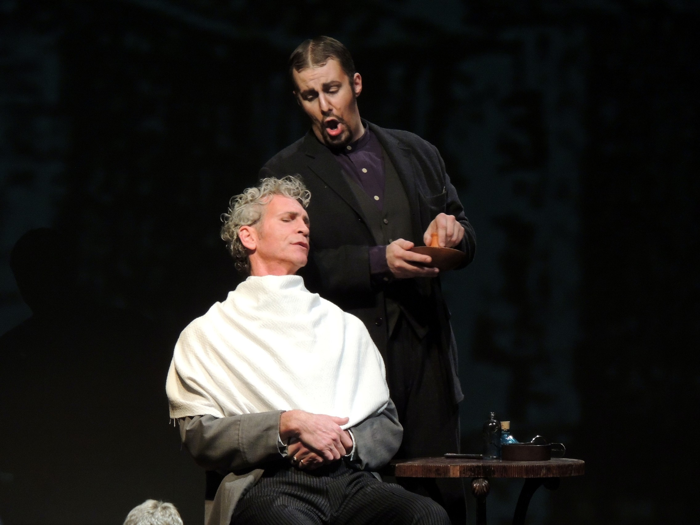 Sweeney Todd (Kyle Albertson) sings with his enemy Judge Turpin (Jamie Offenbach). Photo: Syracuse Opera