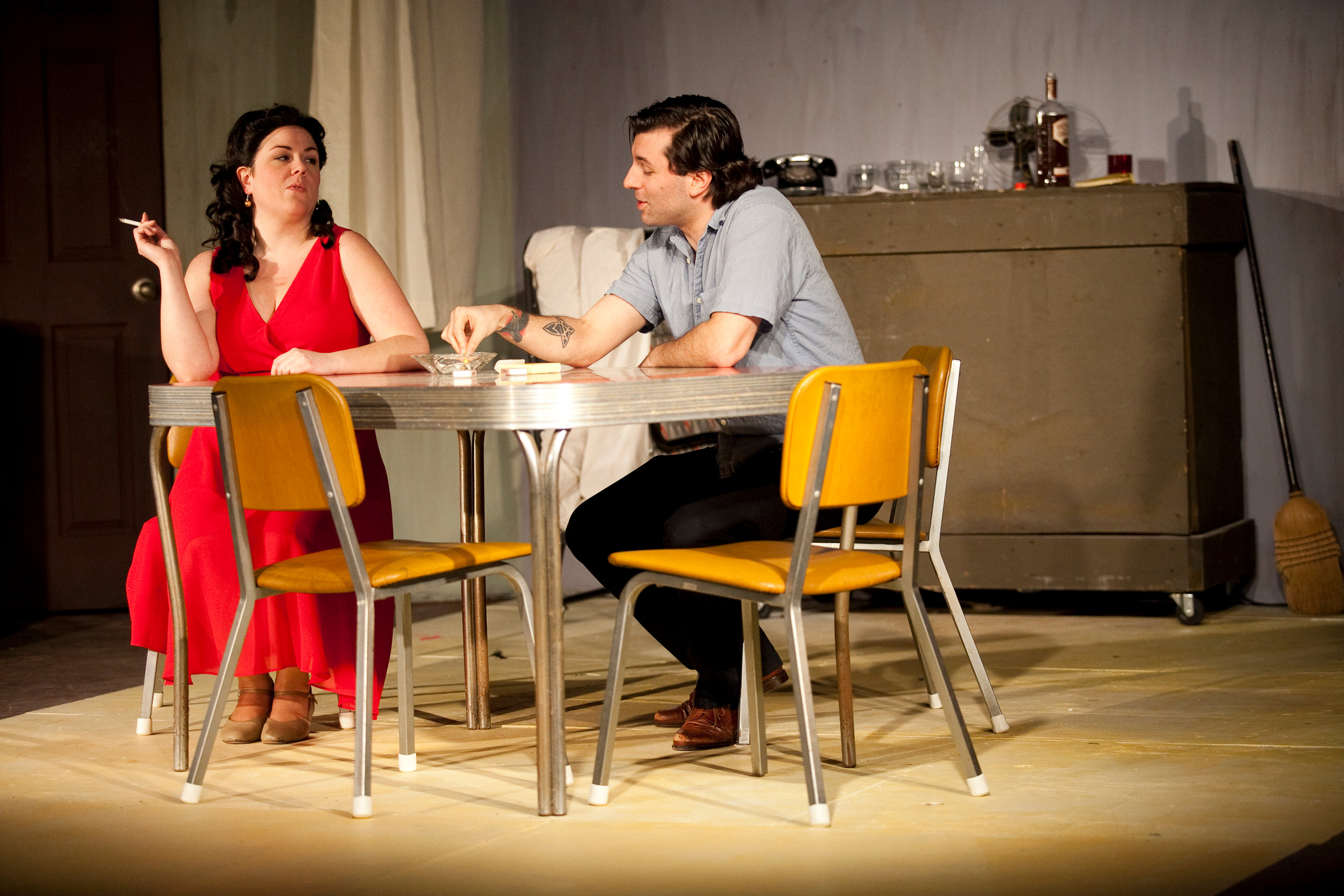 Blanche (Jodie Baum) and Stanley (Jordan Glaski) share a smoke in CNYP's A Streetcar Named Desire. Photo: Amelia Beamish.