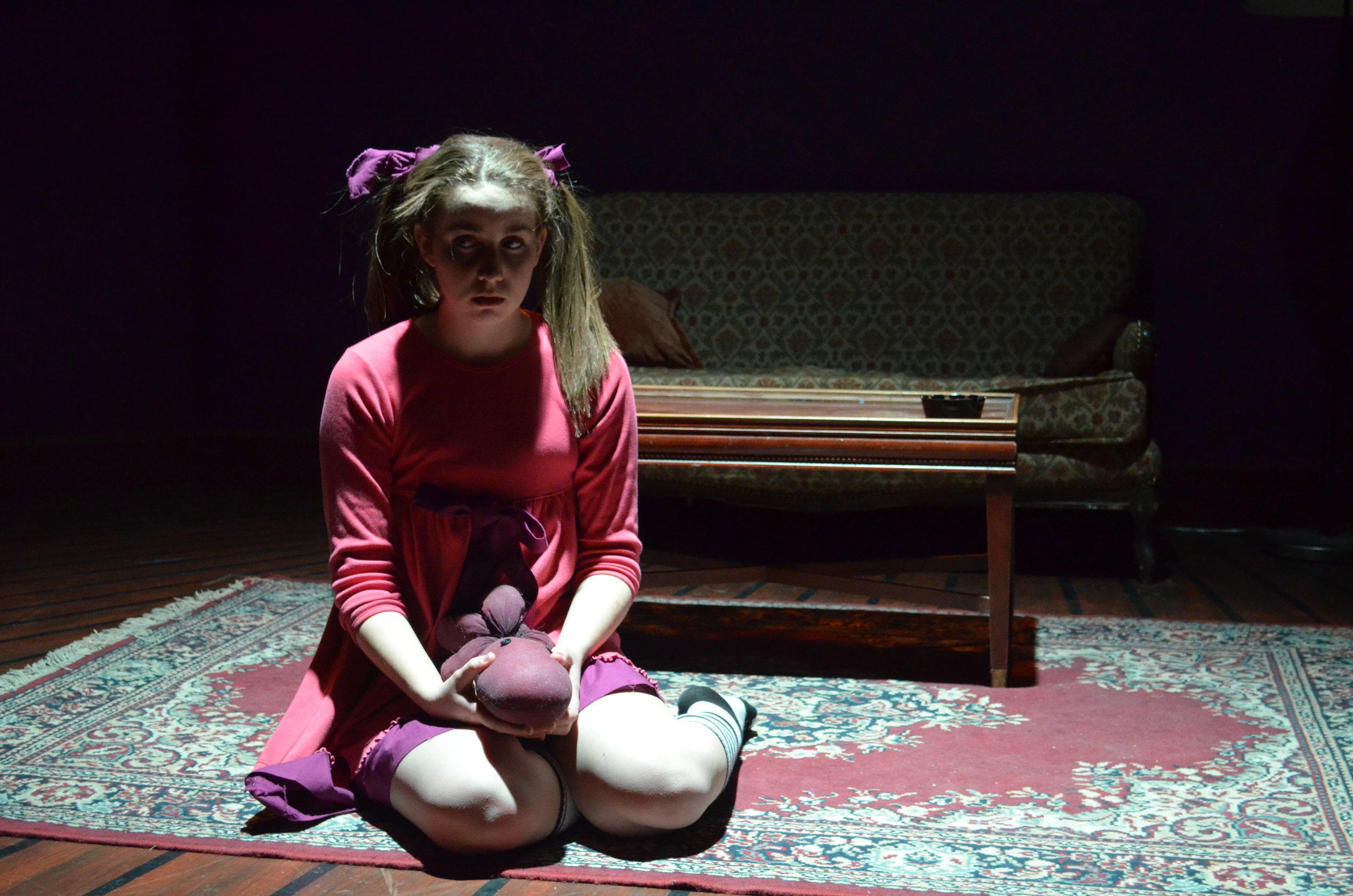"Hannah Daly plays ""Lucy"" a 4-year-old with a dark imagination in 'Mr. Marmalade.'Photo: Rebecca Gazaille"