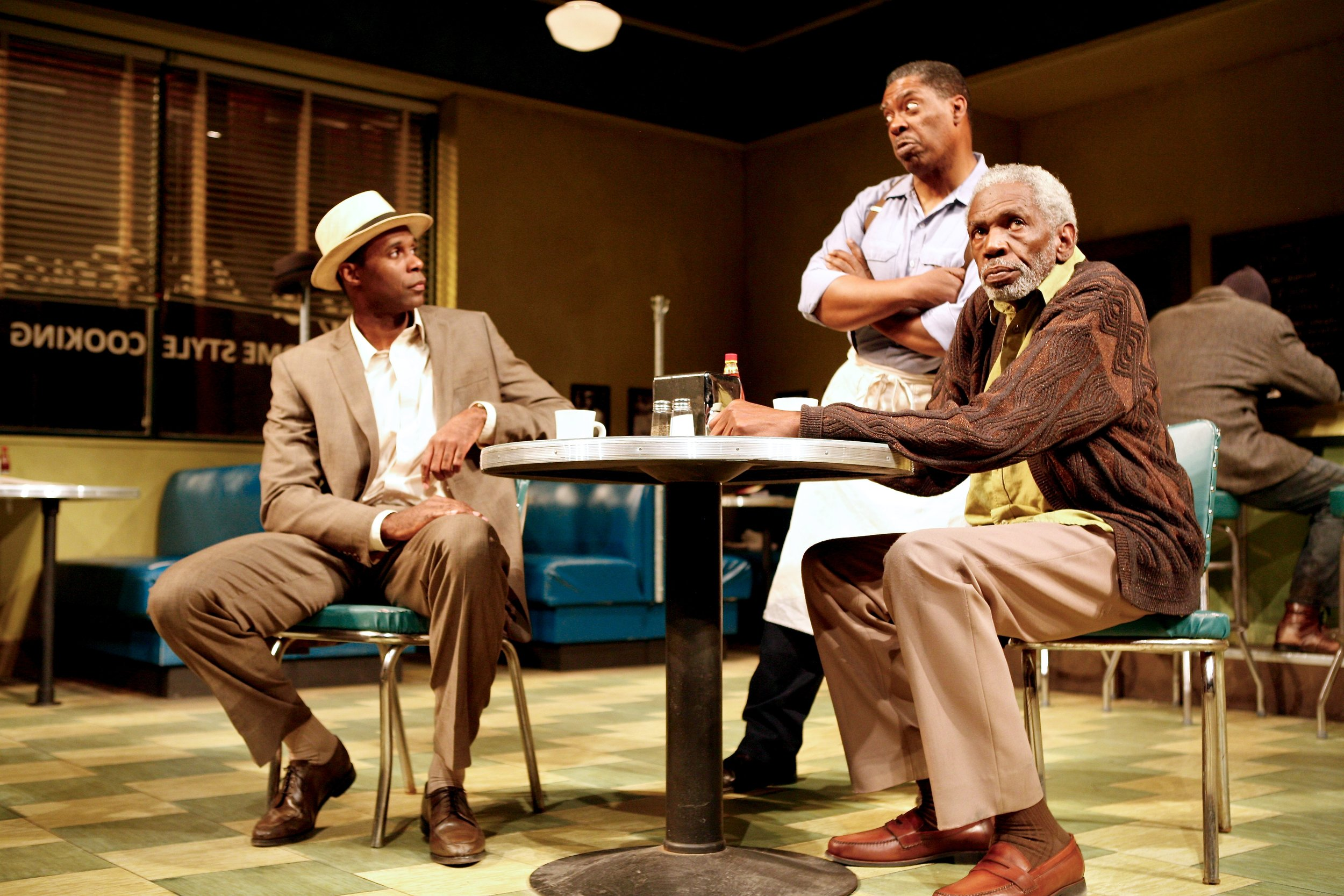 Sterling (Robert Manning, Jr.),  Memphis (G. Valmont Thomas) and Holloway (Abdul Salaam El Razzac) in Syracuse Stage's 'Two Trains Running.'Photo: Michael Davis