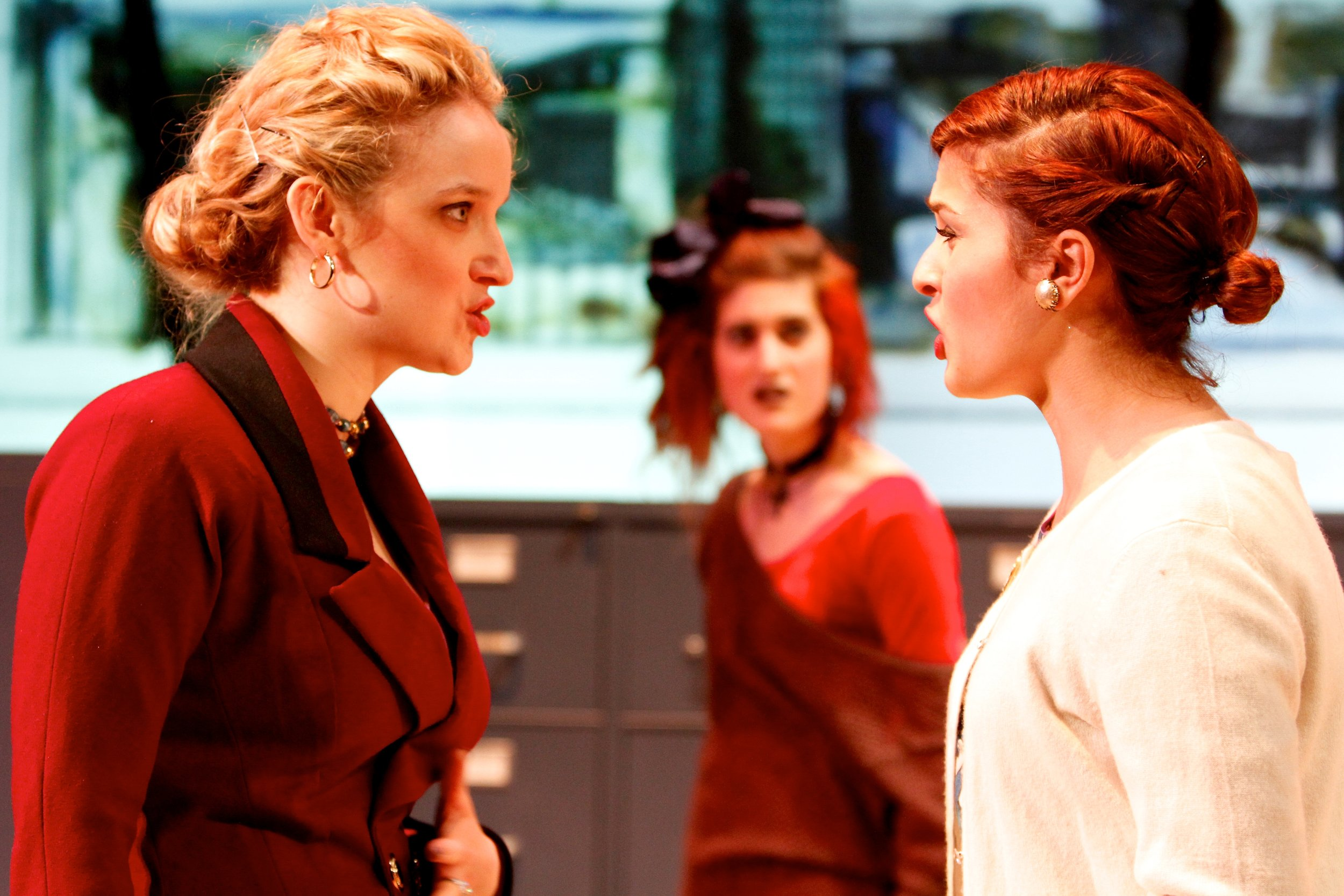 Mary Ann Pianka (as Marlene), Jenna Fields (as Angie) and Chessie Santoro (as Mrs. Kidd) in 'Top Girls.'Photo: Michael Davis