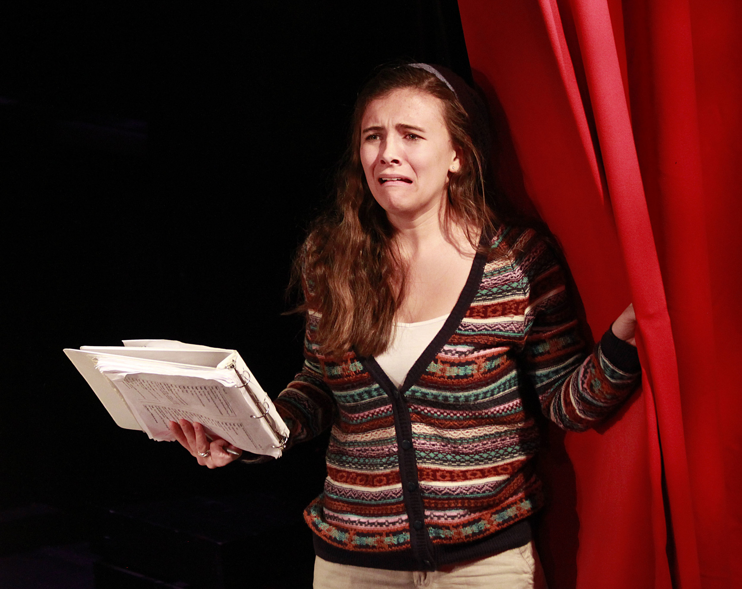 Poppy (played by Grace Allyn), the nervous, frustrated stage manager of 'Nothing On.' Photo: Jessie Dobrzynski