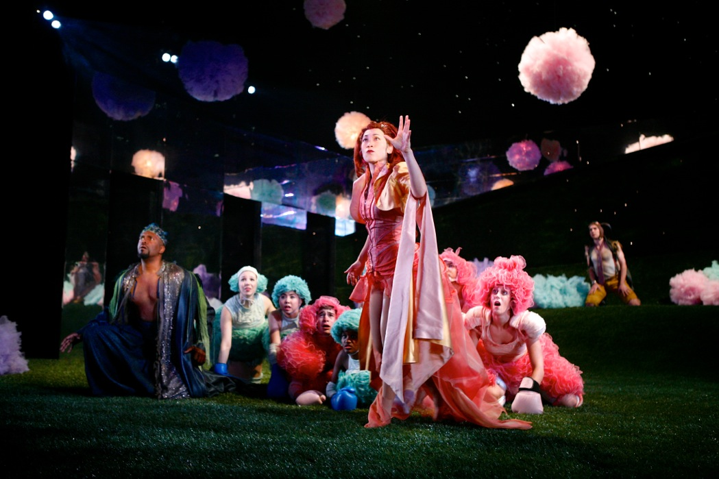 Lindsay Smiling (Theseus/Oberon), left, and Kimiye Corwin (Hippolyta/Titania), center, surrounded by fairies, as David L. Townsend (Puck/Philostrate) looks on from the far right, in 'A Midsummer Night's Dream.'Photo: Michael Davis