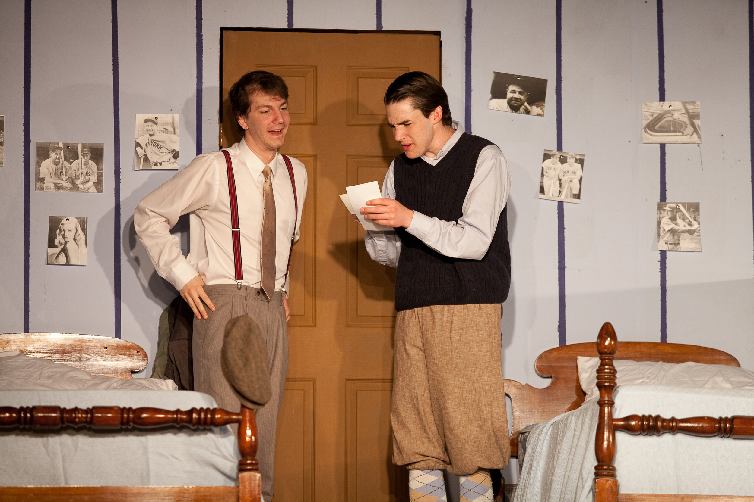 Stanley (Justin Polly) teaching his his younger brother Eugene (Josh Hintz) about the female form.  Photo: Amelia Beamish