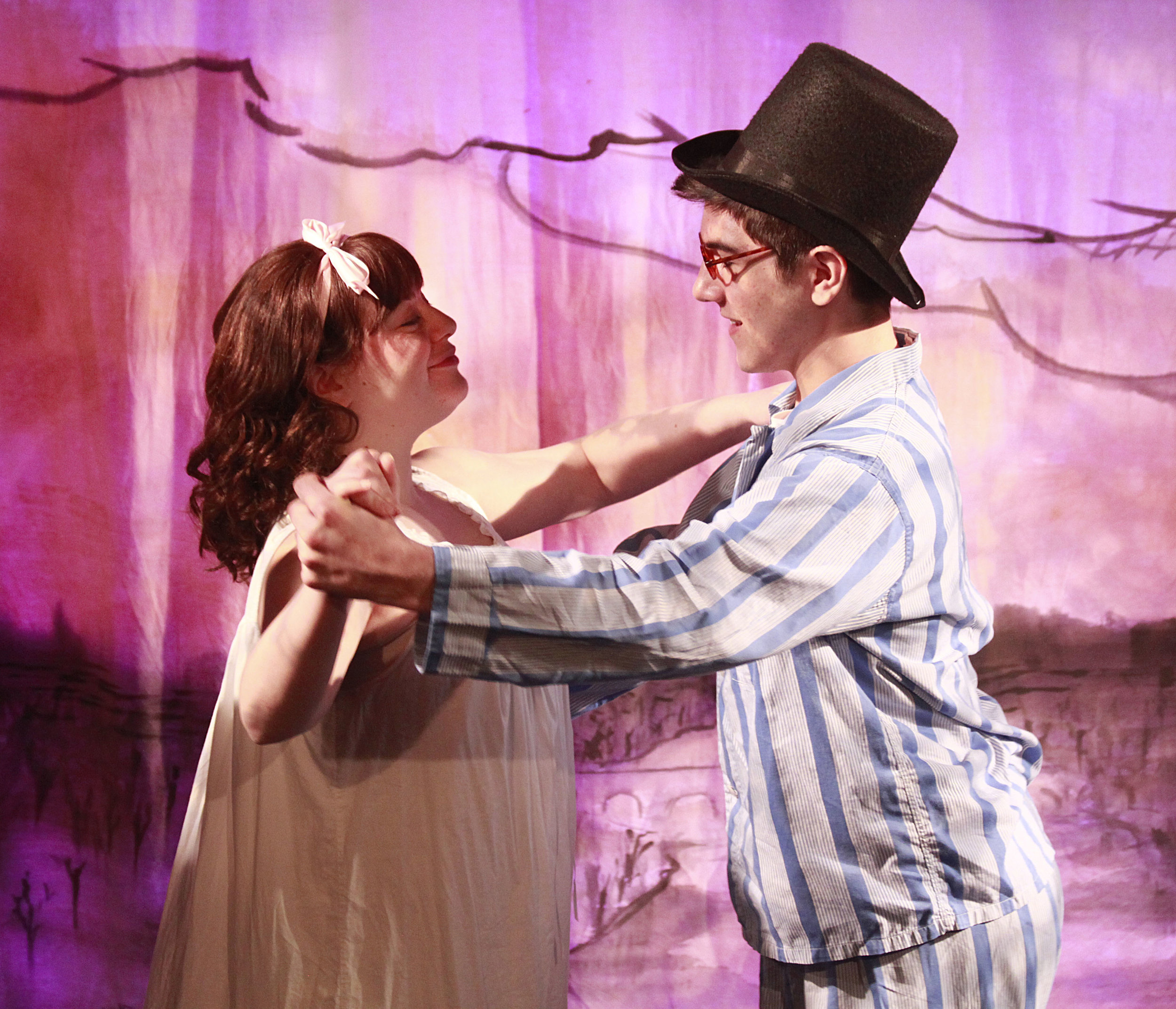 Wendy (Sara Weiler) and John (Jason Belanger) dance over London in 'Peter Pan.' Photo: Teri Dobrzynski