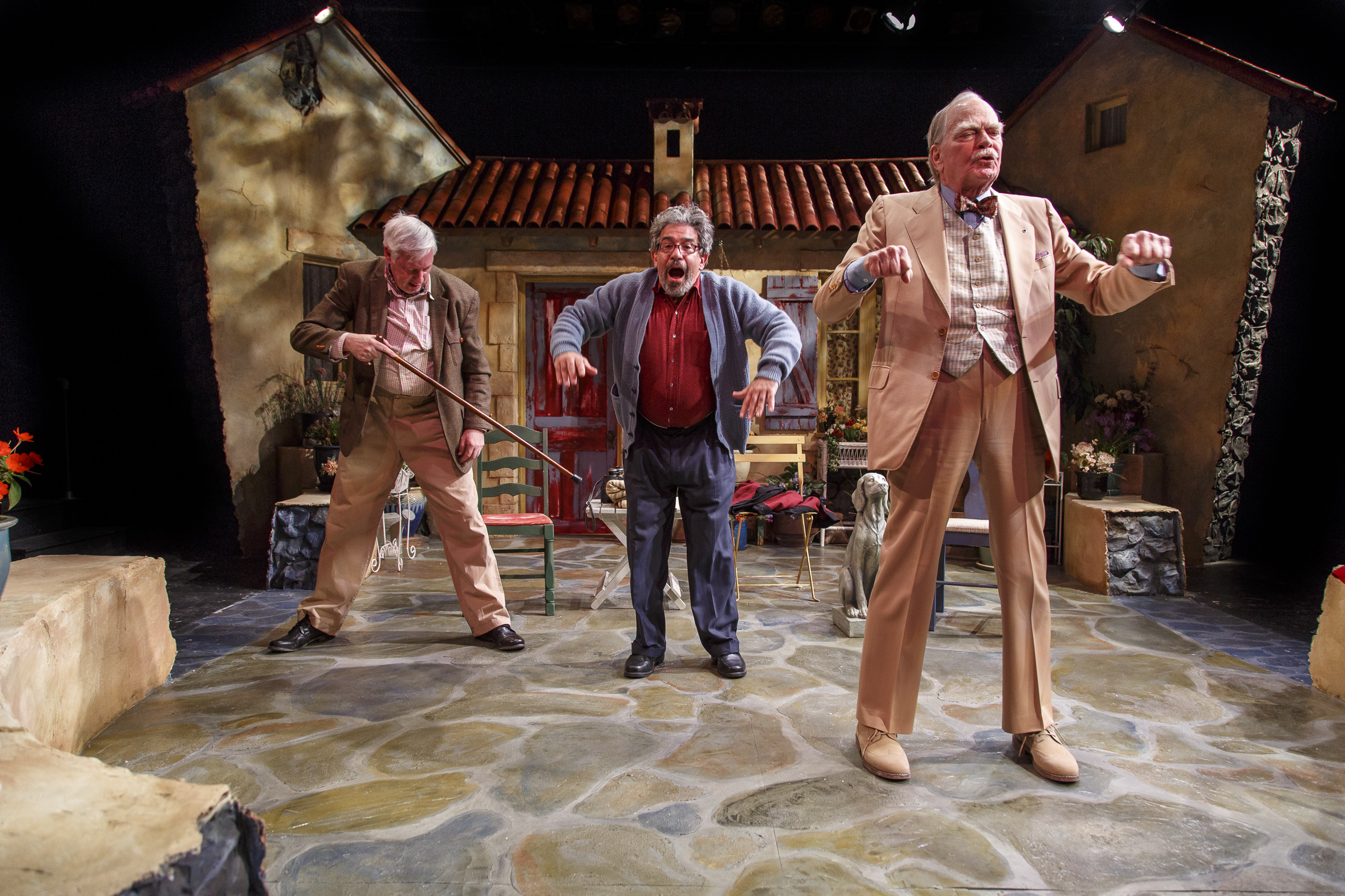 Arthur Bicknell, Eric Brooks, and Evan Thompson in the Kitchen Theatre production of Heroes by Gerald Sibleyras, translated by Tom Stoppard. Photo by Dave Burbank.