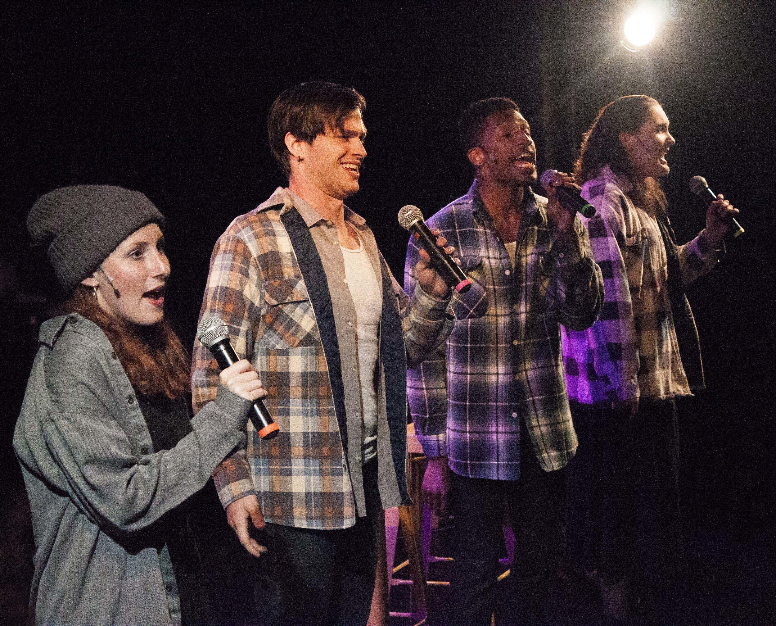 Full Cast (Left to Right): Becca Orts, Kody Bringman, Antonio Tillman, Rebecca Flanders. Photo by Jessie Dobrzynski.