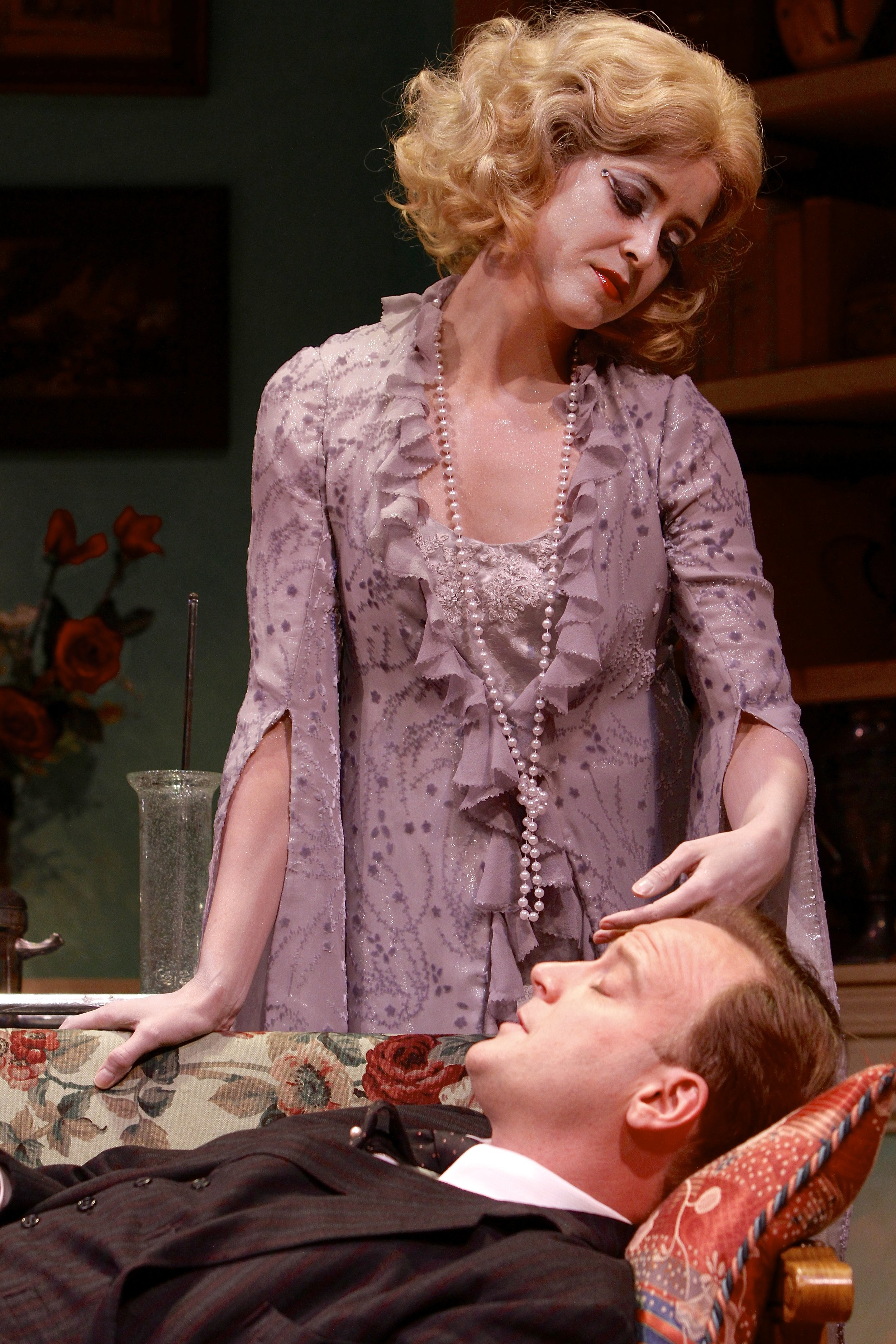 Gisela Chipe (as Elvira) and Jeremiah Wiggins (as Charles Condomine) in the Syracuse Stage production of Noel Coward's Blithe Spirit. Photo by: Michael Davis
