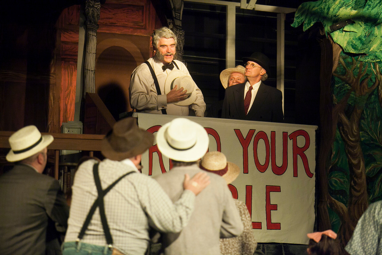 "Brady (Joe Pierce) leads a revival meeting in ""Heavenly Hillsboro"" in CNYP's Inherit the Wind  Photo by Amelia Beamish"