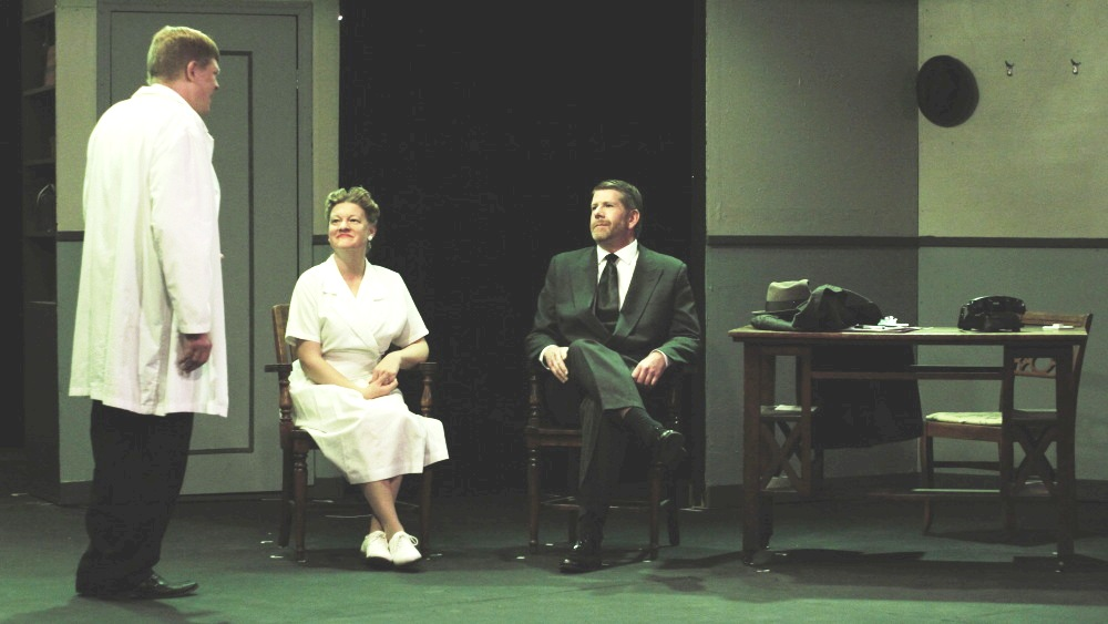 "Alan Stillman (left), Heather Roach and CJ Young in in a scene from Appleseed's ""Harvey.""  Photo by Sean Walter."