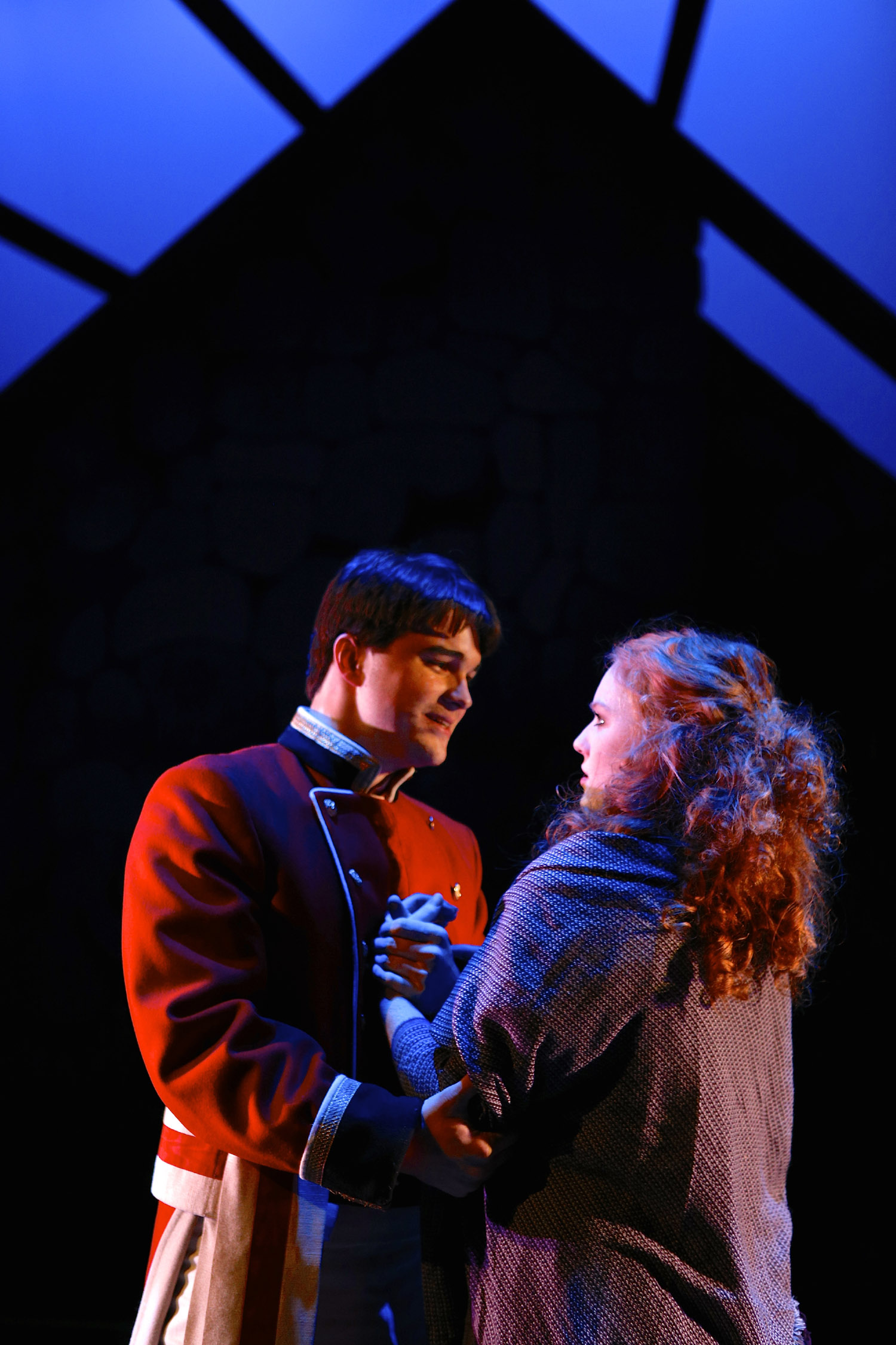 Derek Boyer Goh (Lt. Yolland) and Whitney Crowder (Maire) in the SU Drama production of Translations. Photo by Michael Davis