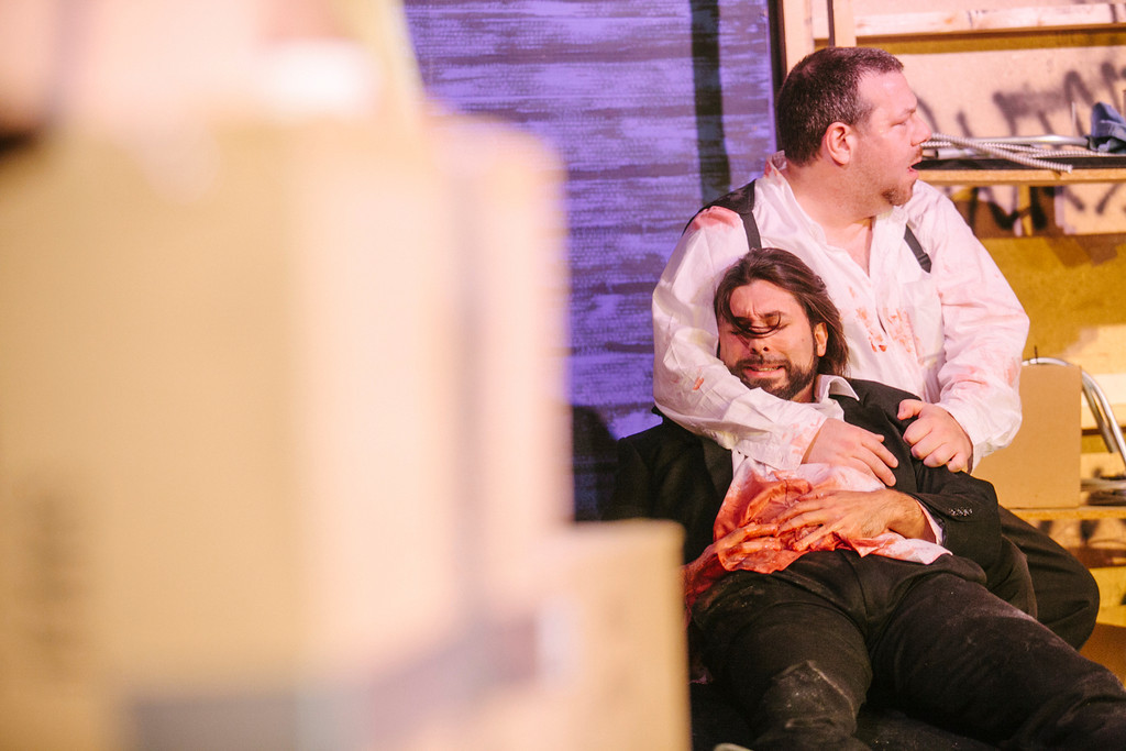 Mr. White (James Uva) consoles Mr. Orange (Jordan Glaski) as they wait for help to arrive. Photo by Amelia Beamish