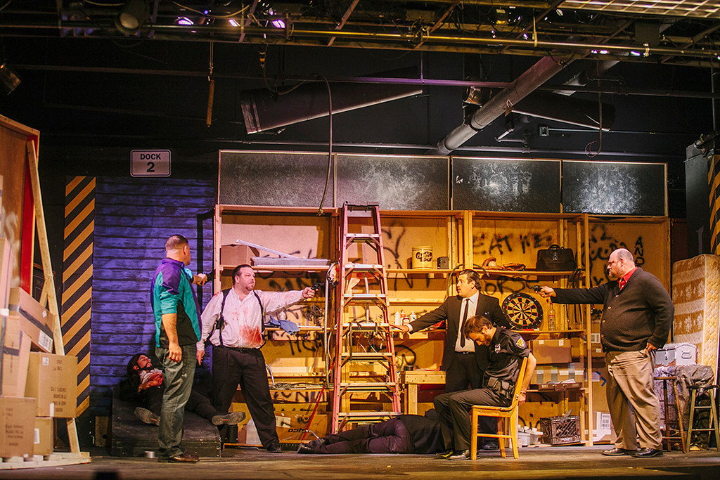 A stand off ensues at the warehouse with CNYP's Reservoir Dog Cast. Photo by Amelia Beamish