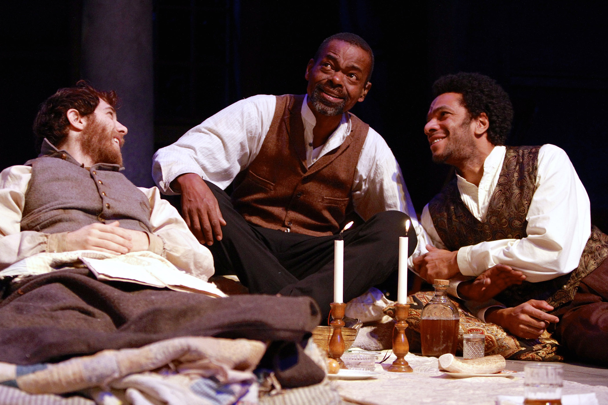 Gregory Perri (Caleb), Jonathan Peck (Simon), and Biko Eisen-Martin (John) in the Syracuse Stage production of The Whipping Man. Photographer Michael Davis.
