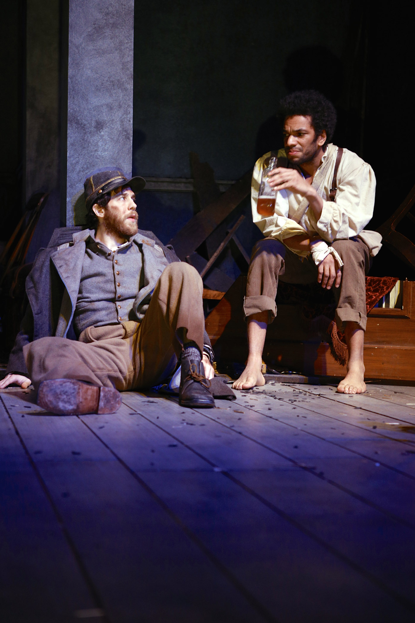 Gregory Perri (Caleb) and Biko Eisen-Martin (John) in the Syracuse Stage production of The Whipping Man. Photographer Michael Davis.
