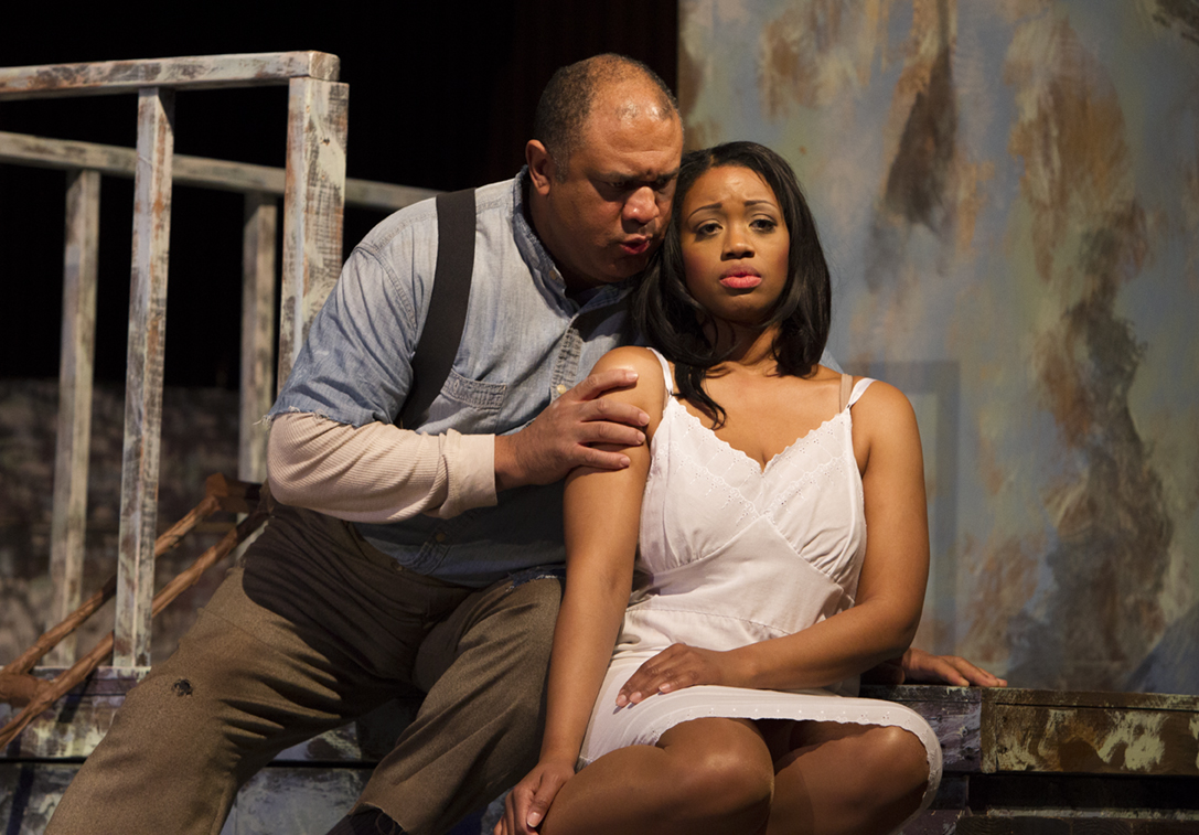 "Porgy (Gordon Hawkins) and Bess (Laquita Mitchell) in ""Porgy and Bess."" Photo by Doug Wonders"