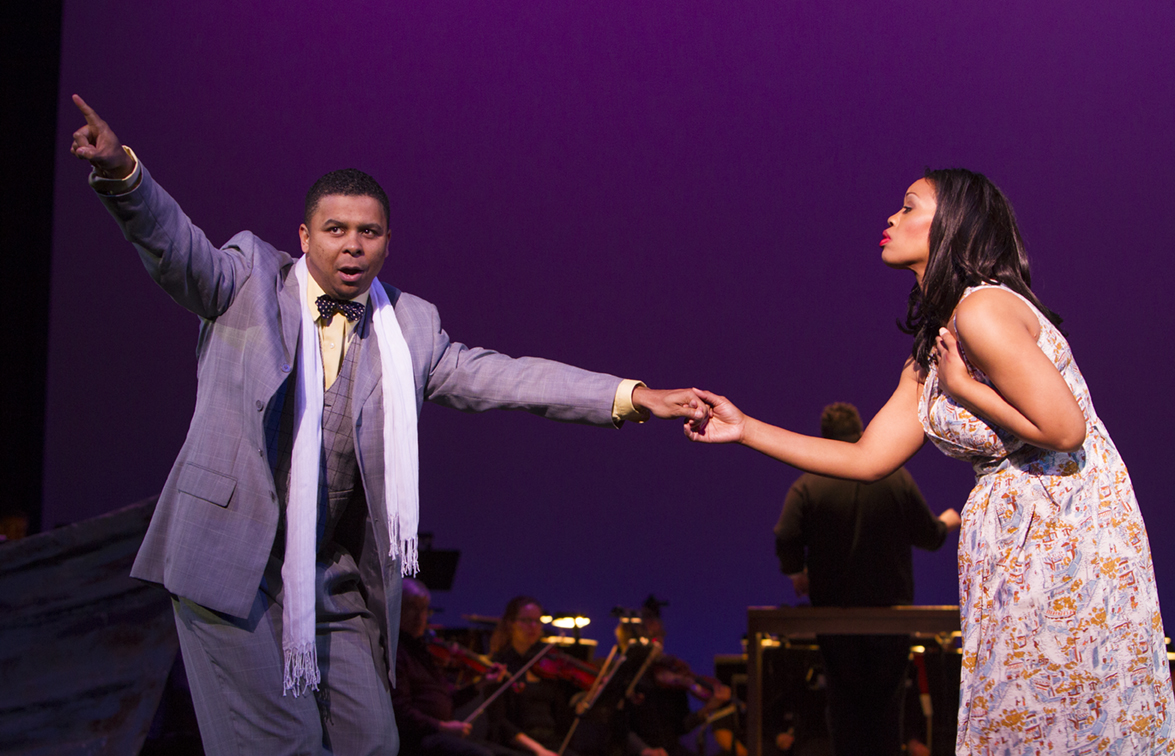 "Sportin' Life (Victor Ryan Robertson) and Bess (Laquita Mitchell) in ""Porgy and Bess."" Photo by Doug Wonders."