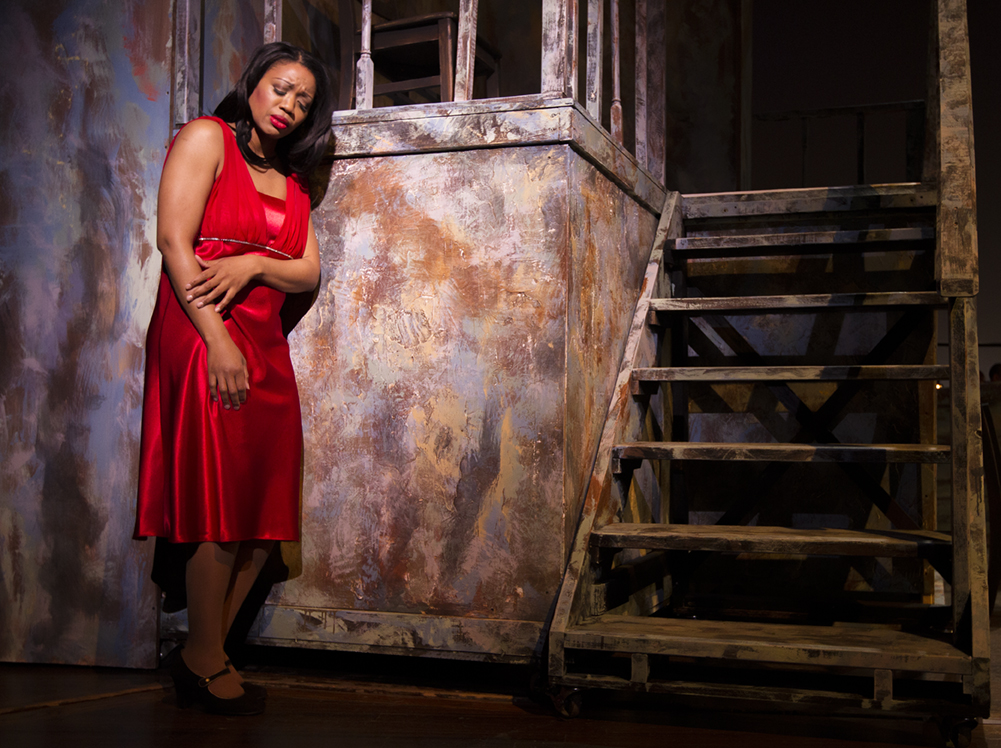 "Bess (Laquita Mitchell) yearning and burning for a change in ""Porgy and Bess."" Photo by Doug Wonders"