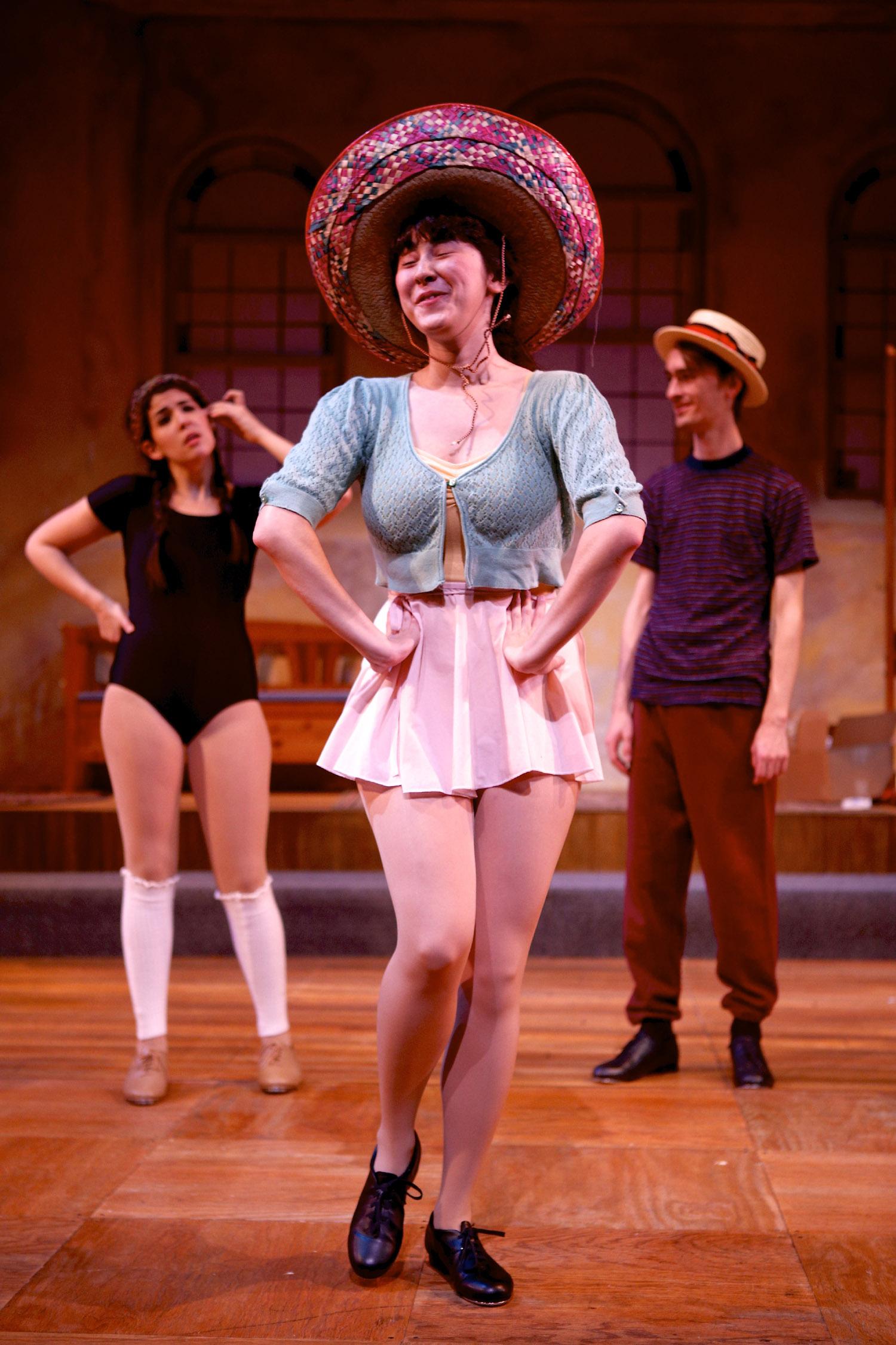 Amanda Rojas, Sarah Mozeson, and Tim Simon in SU Drama's Stepping Out. Photographer: Michael Davis.