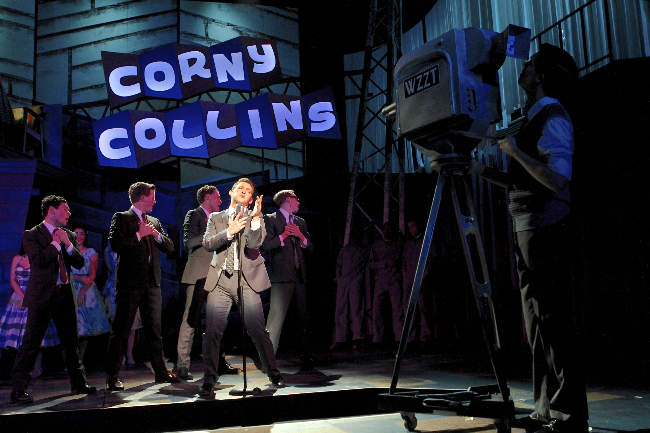 Troy Hussmann (center, as Link) and the Council Boys in HAIRSPRAY. Photographer: Michael Davis.