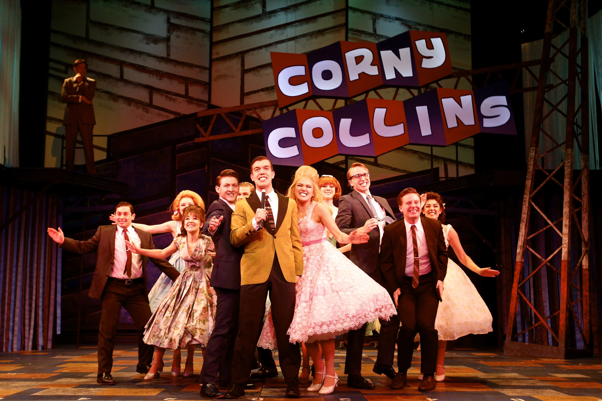 Kyle Anderson (center, as Corny Collins) and the Council Kids. Photographer Michael Davis.