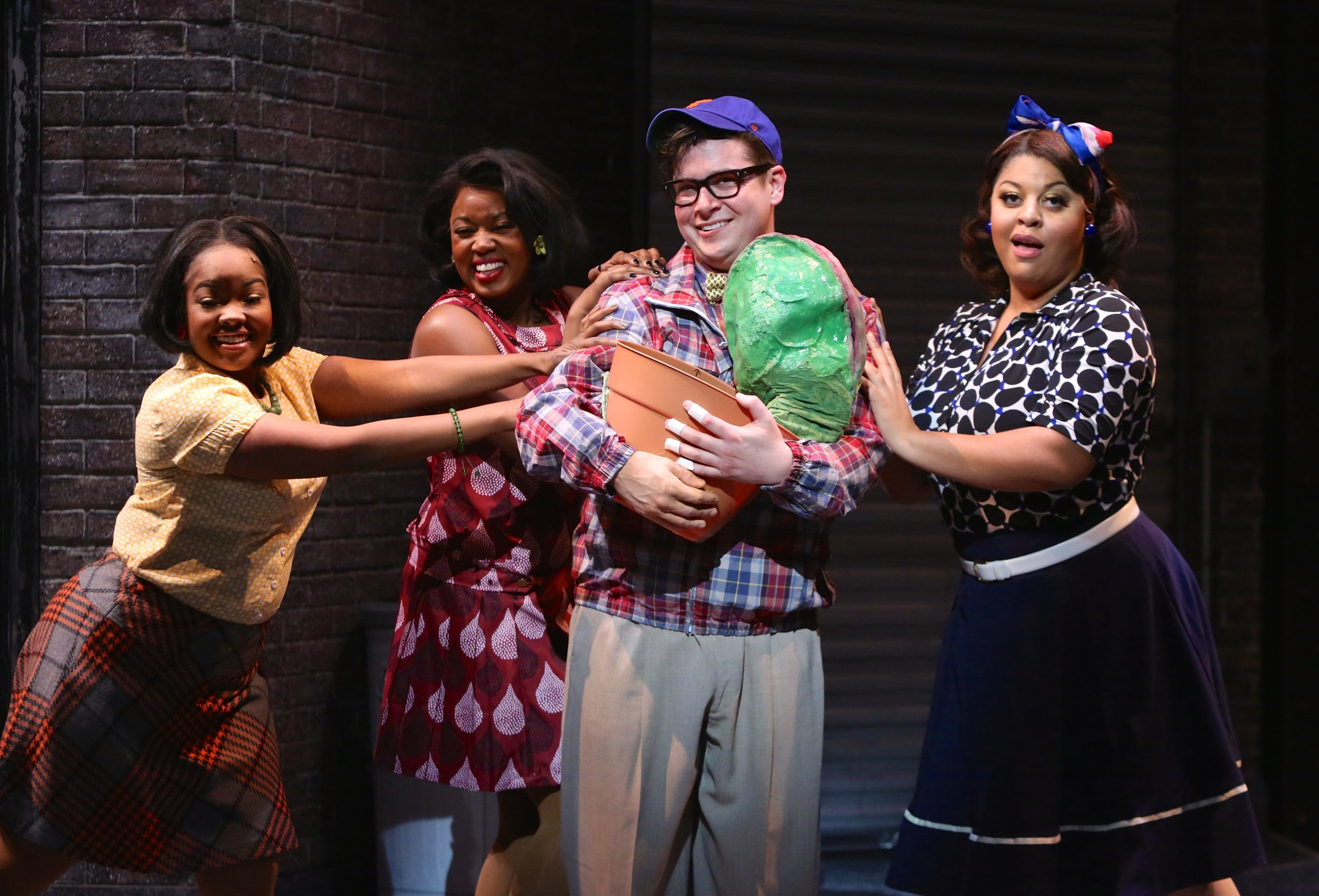 Seymour (Will Blum) and the Ronnettes: Trista Dollison, Talitha Farrow and Gavyn Pickens. Photo by Ken Huth.