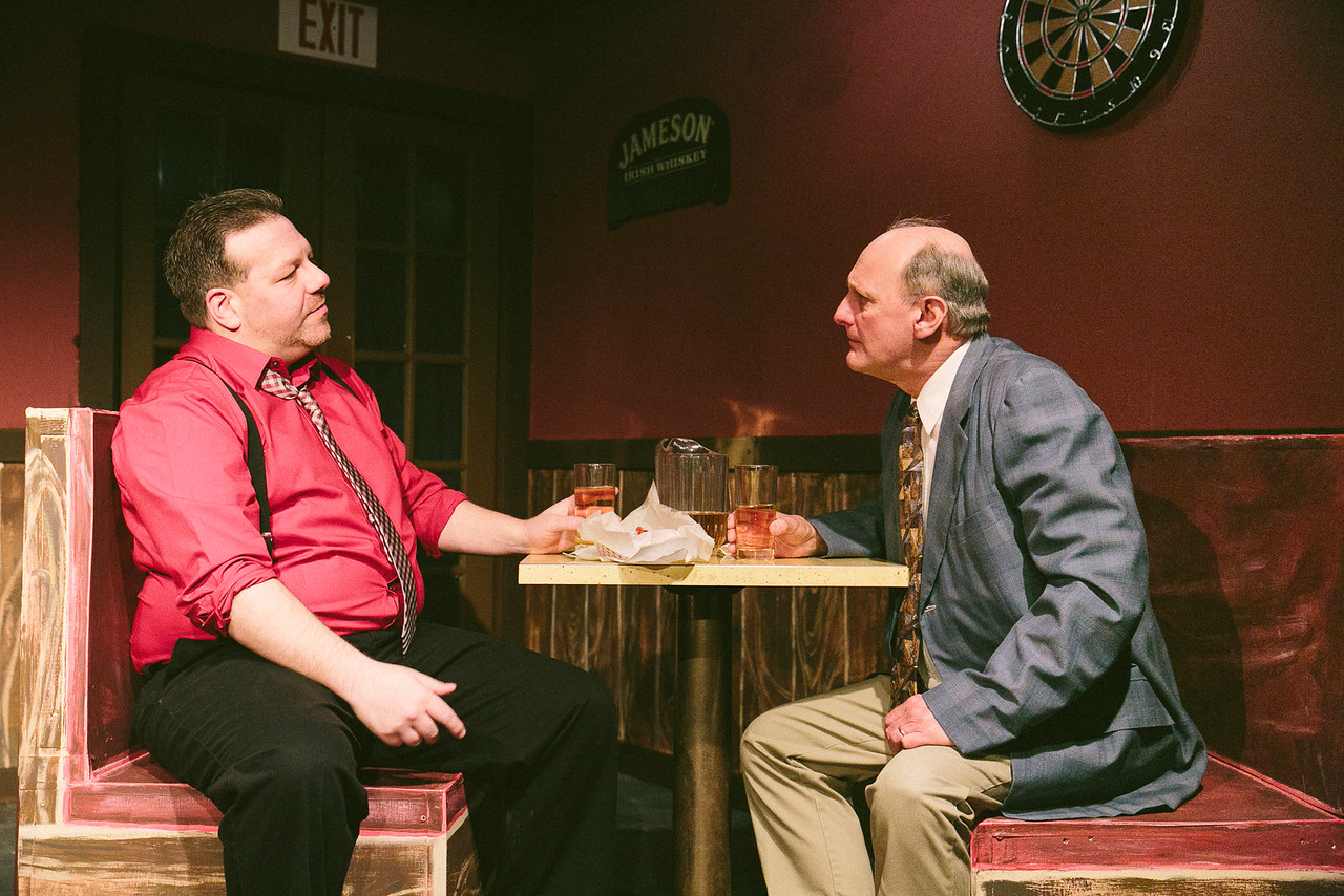 "JIm Uva and Keith Arlington in ""Glengarry Glen Ross"" at CNY Playhouse. Photo by Amelia Beamish."