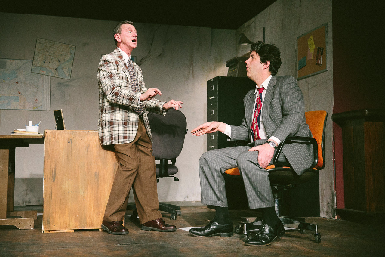 "Jack Sherman and Nathan Faudree in ""Glengarry Glen Ross"" at CNY Playhouse. Photo by Amelia Beamish."