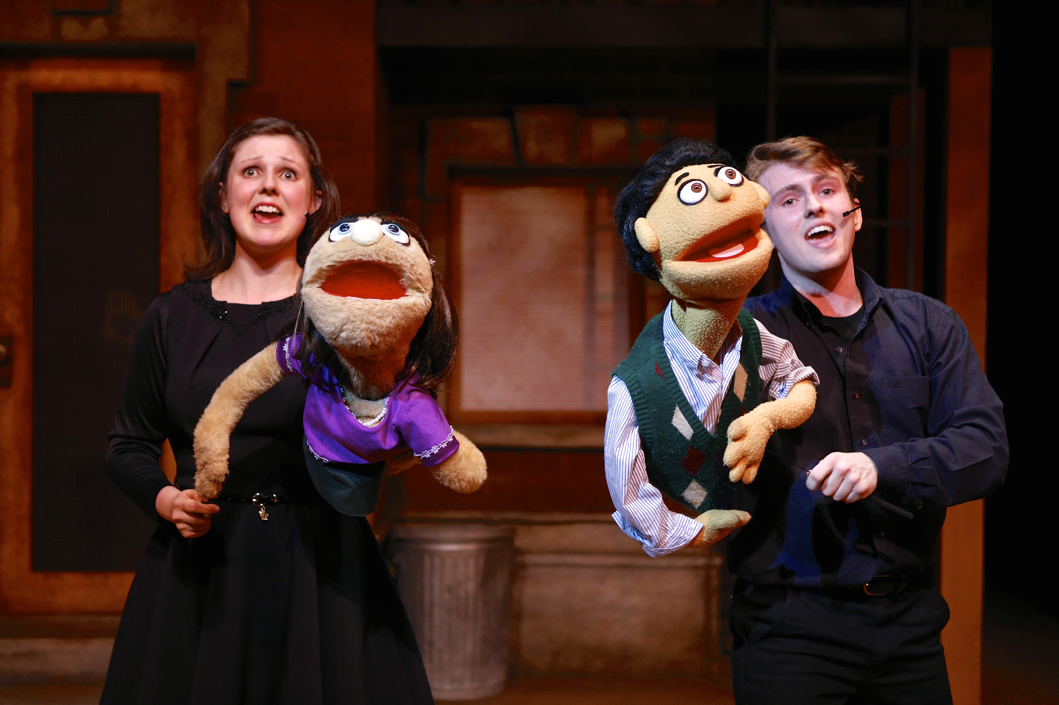 "Madie Polyak and Michael Roach in ""Avenue Q"" at SU Drama. Photo by Michael Davis"