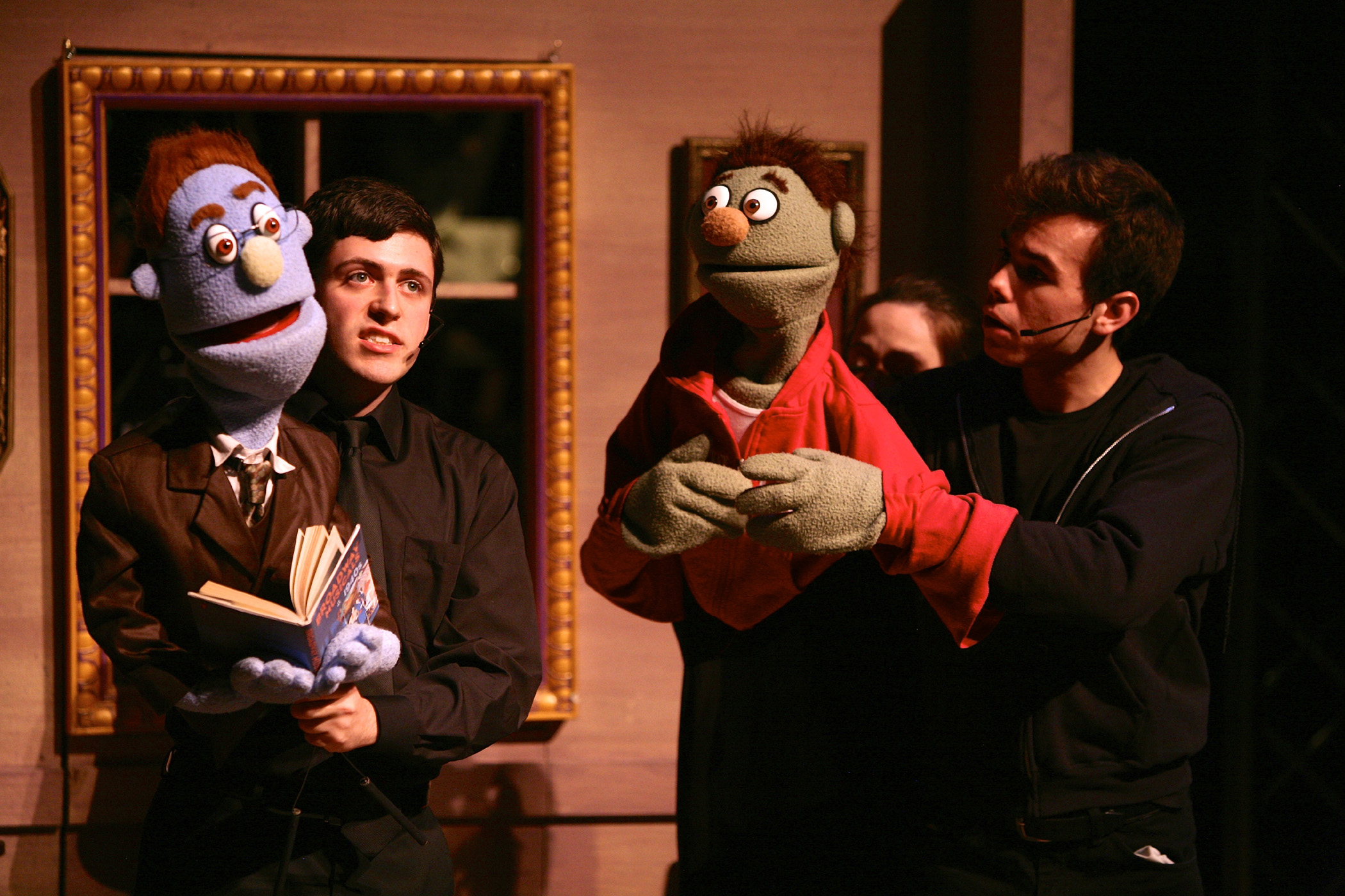 Stephen Gordon (Rod) and Cole Francum (Nicky) in SU Drama's AVENUE Q. Photo by Michael Davis